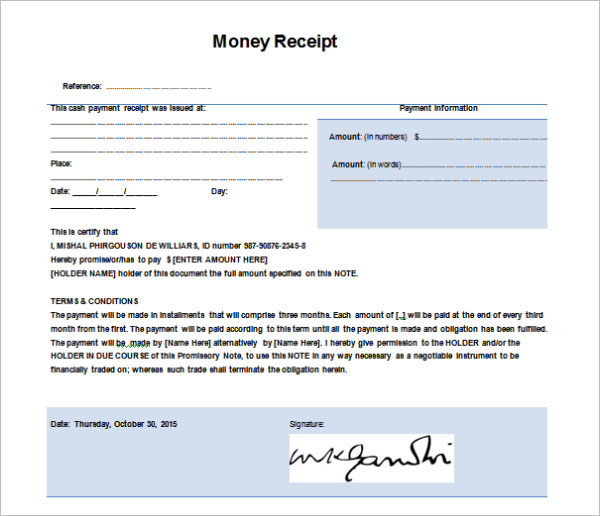 Example For Money Receipt Template