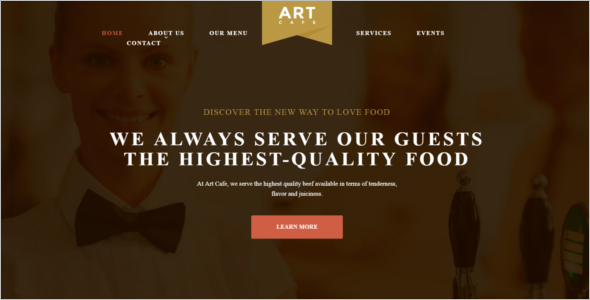 Example Of Cafe Website Theme