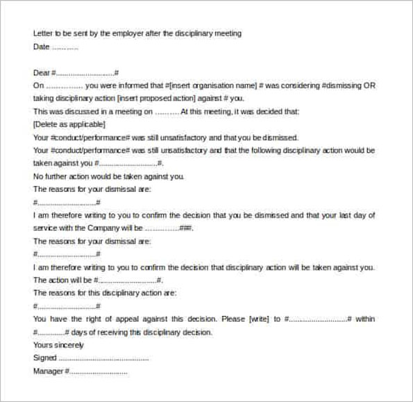 Example Of Warning Letter Template