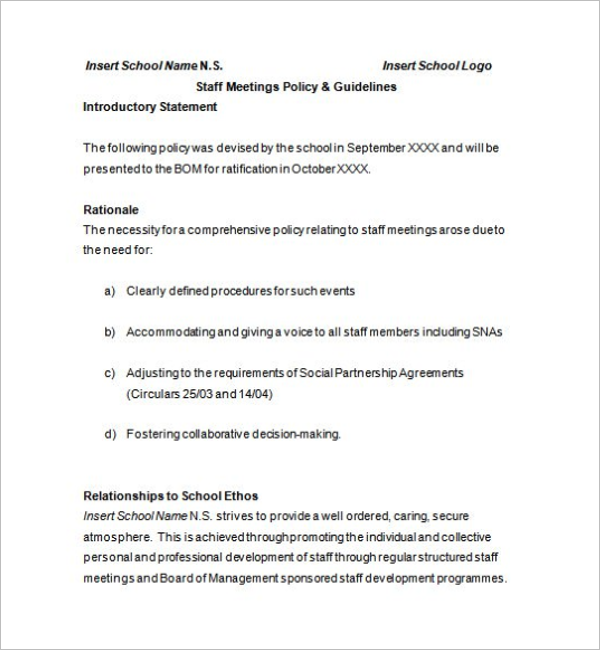 Example of School Meeting Minutes Template