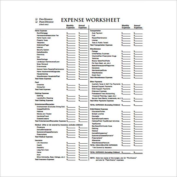Expense Tracking Sheet Format