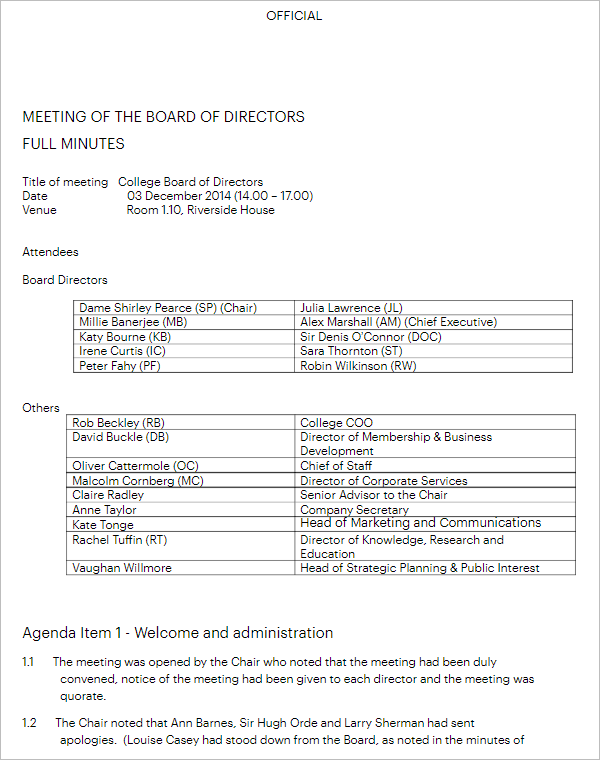 First Board Of Directors Meeting Minutes Template