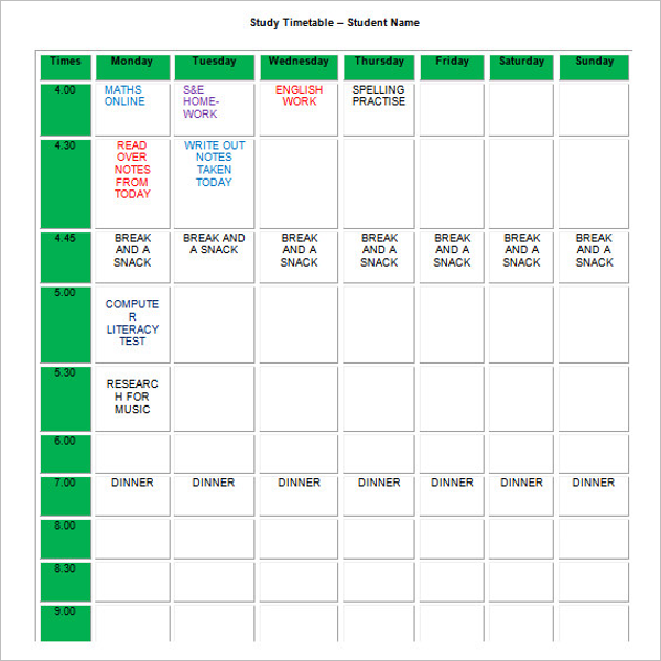Five Day Homework Planner Template