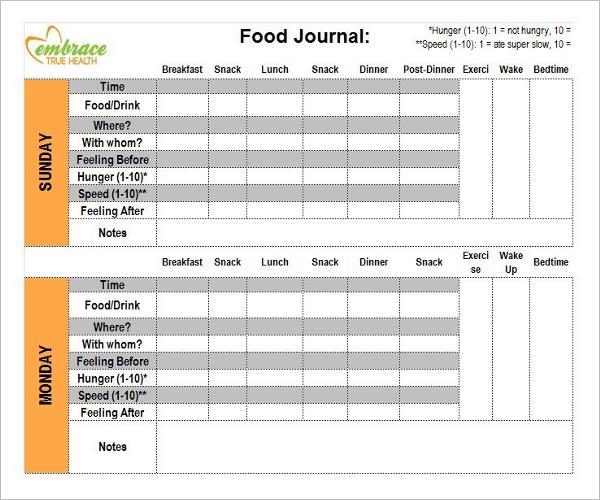 Food Journal Log Template