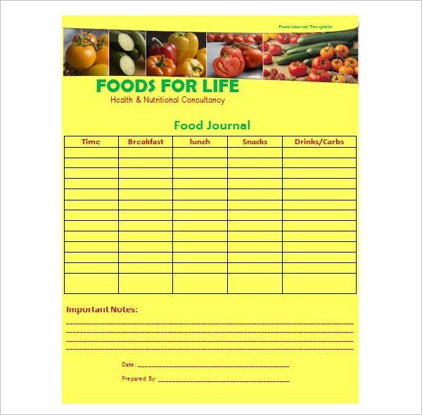 Food Journal Template Free