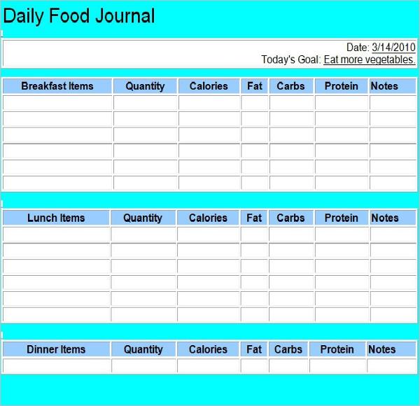 Food Log Book Template