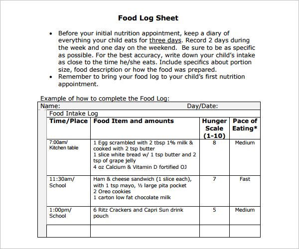 Food Log Sheet Template