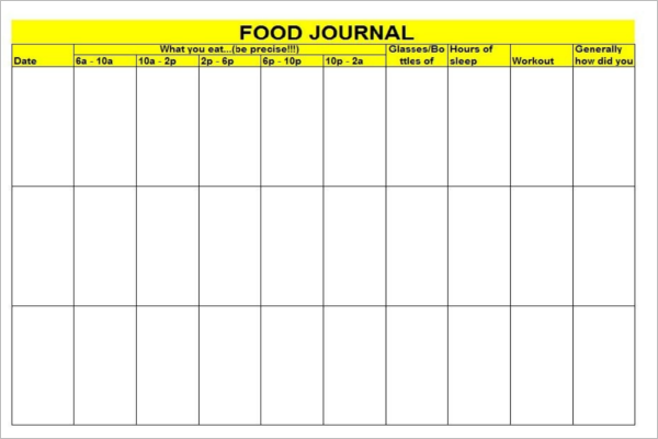 Food Log Template With Timetable