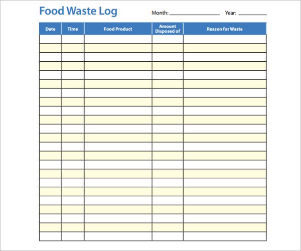 Food Waste Log Template