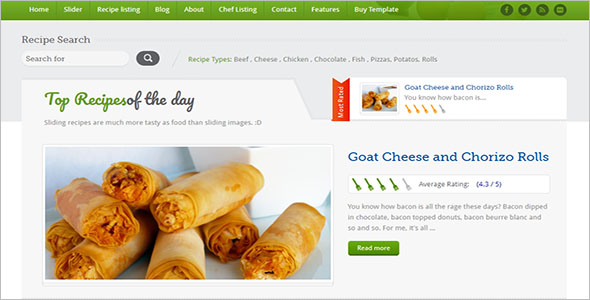 Food Website And Blog Template