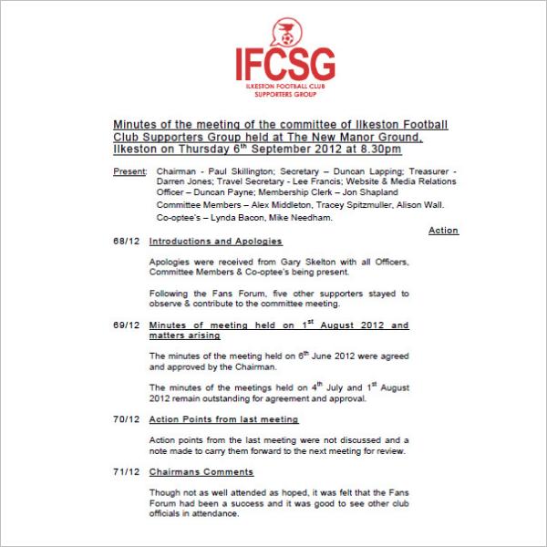Football Club Meeting Minutes Template