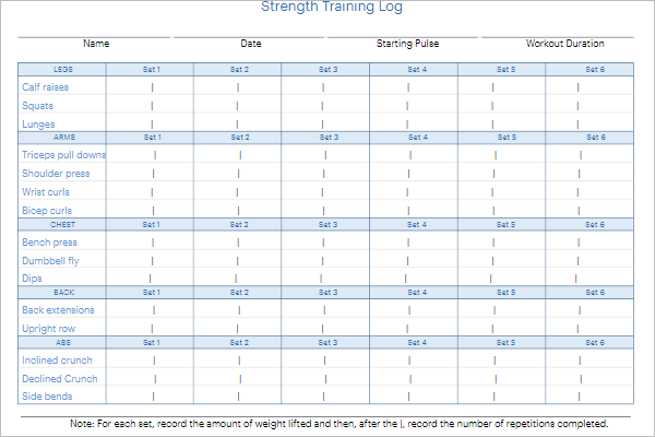 Free Daily Strength Training Log Template