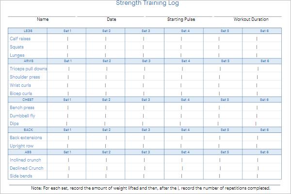 Free Daily Strength Training Log Template