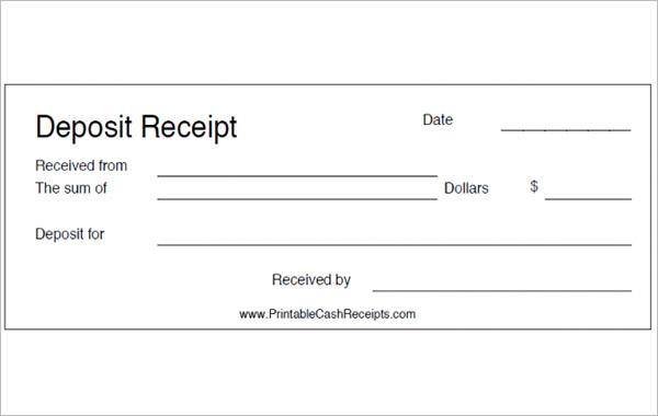 Free Deposit Receipt Template