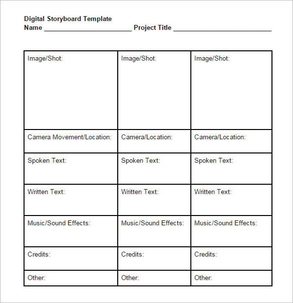 Sample  Storyboard Template | 10 Digital Storyboard Templates Free Doc Pdf Examples