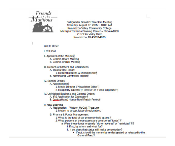 Free Directors Meeting Itinerary Template