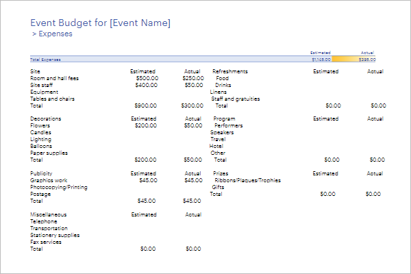 Free Event Budget Template