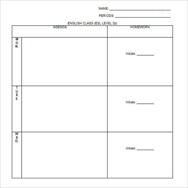 Free Homework Agenda Template