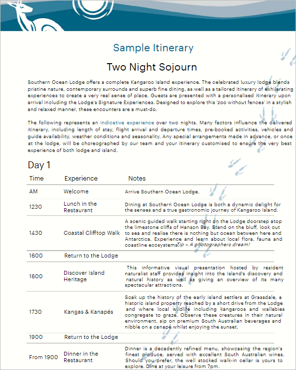 Free Night Stay Itinerary Template