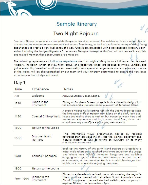 Free Night Stay Itinerary Template