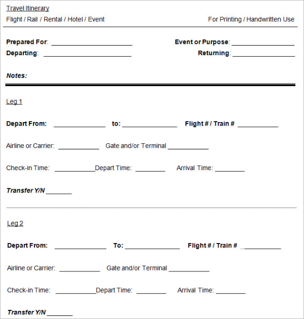 Free Printable Itinerary Template