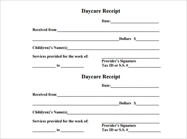 Free Printable Daycare Receipt Template