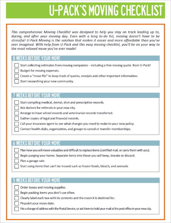 Free Printable Moving Checklist Template