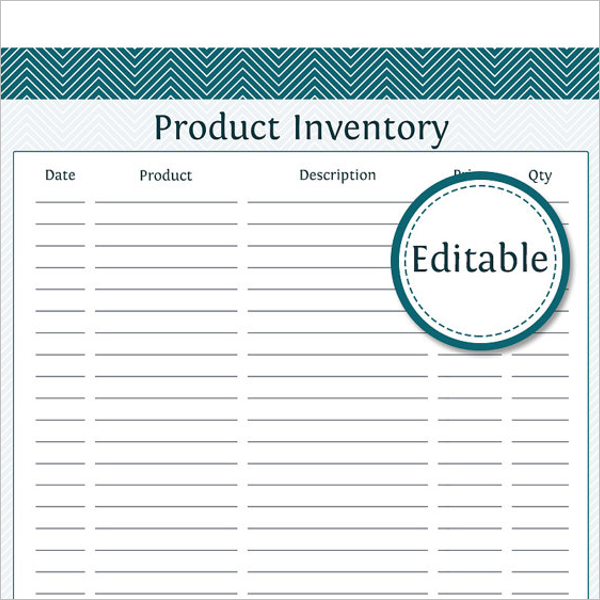 Free Product Inventory PDF Template