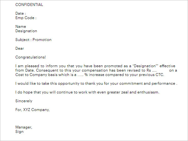 free promotion appraisal letter template