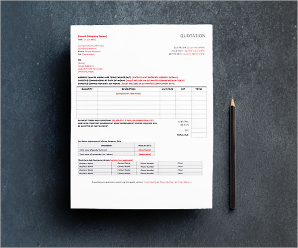 Free Quotation Template