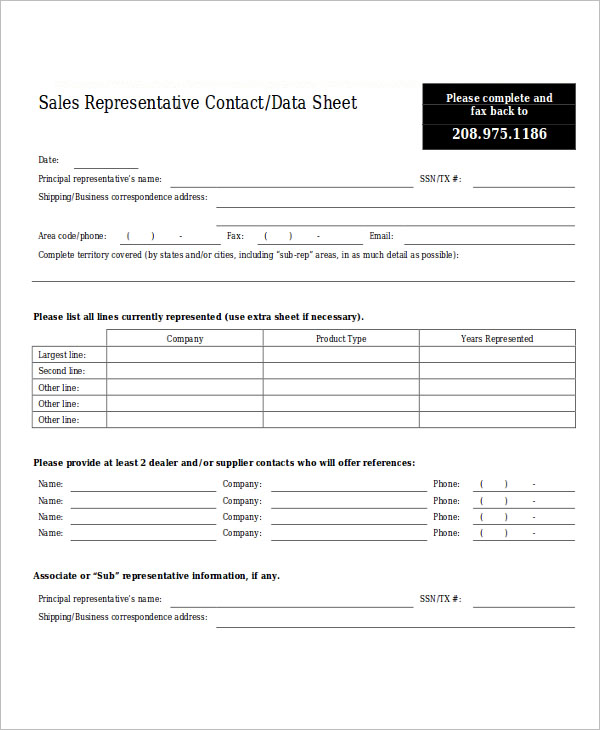 sales sheet template free