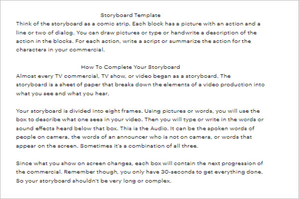 Free Storyboard  Word Template