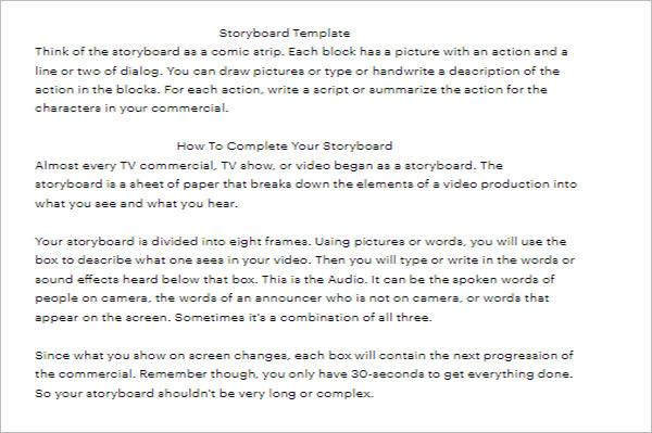 Free Storyboard Word Template