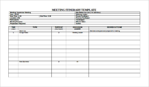 Free Supervisors Meeting Itinerary Template