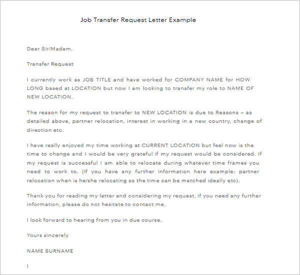 Free Transfer Letter Template