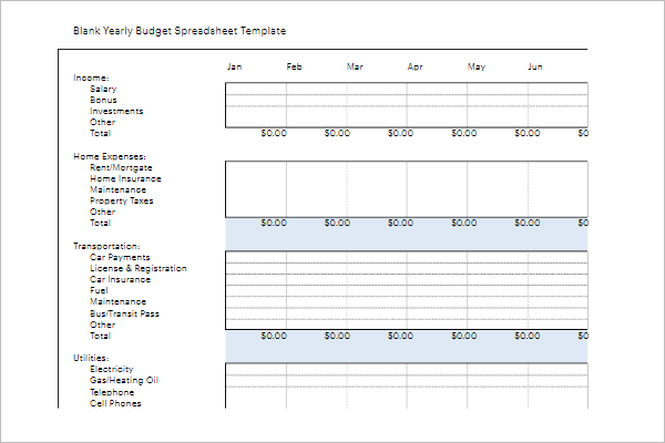 Free Yearly Budget Template