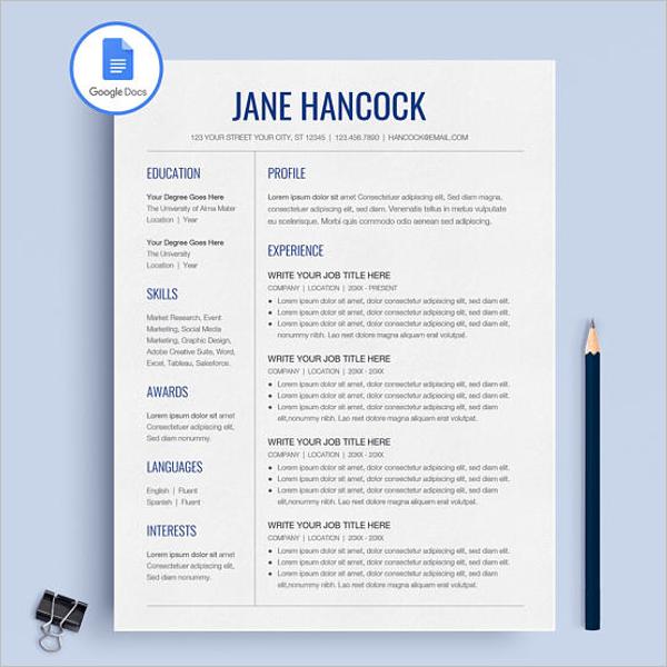 Google Docs Template Resume
