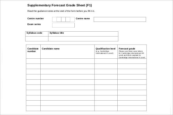 Grade Book Sheet Template