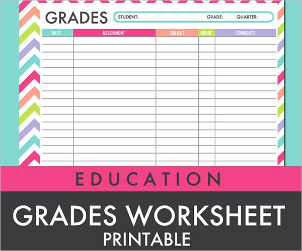 Grade Tracking Sheet Template