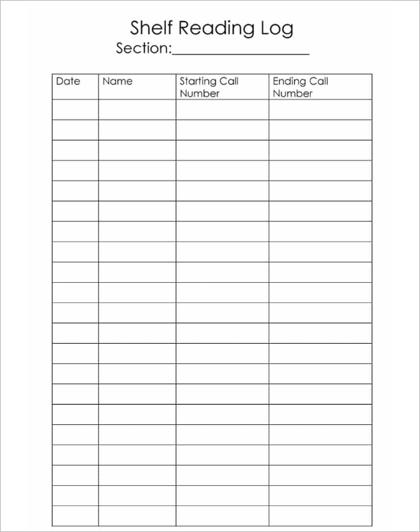 Guided Reading Log Template