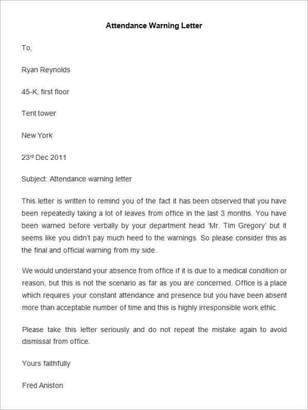 HR Warning Letter For Lateness