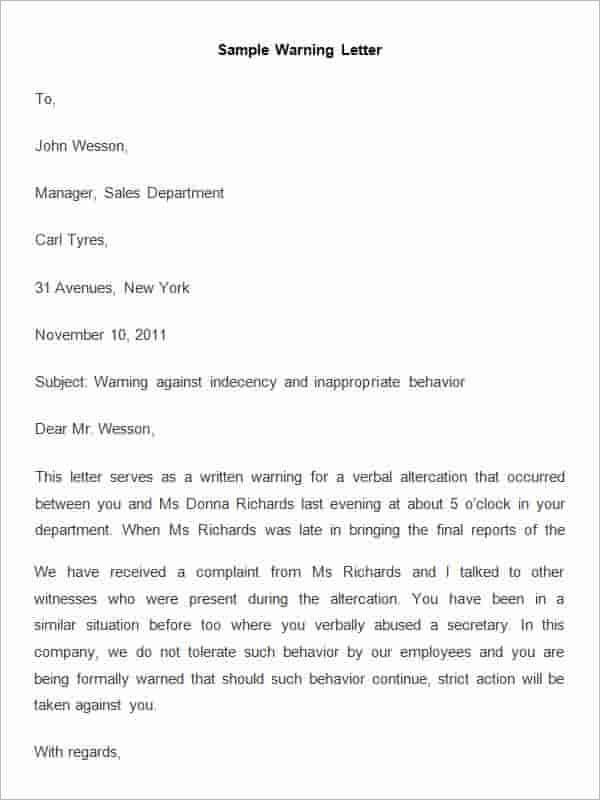 HR Warning Letter Free Download