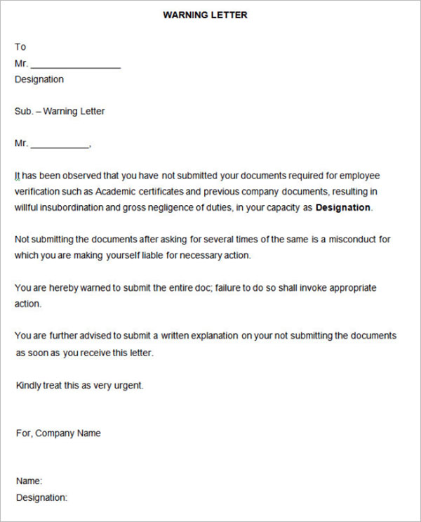 HR Warning Letter Template