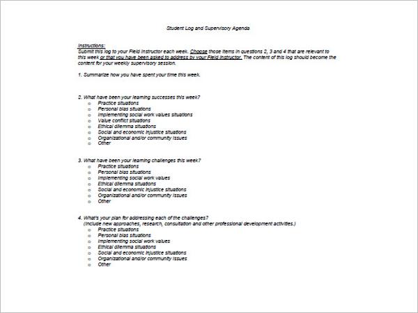 High School Student Agenda Template