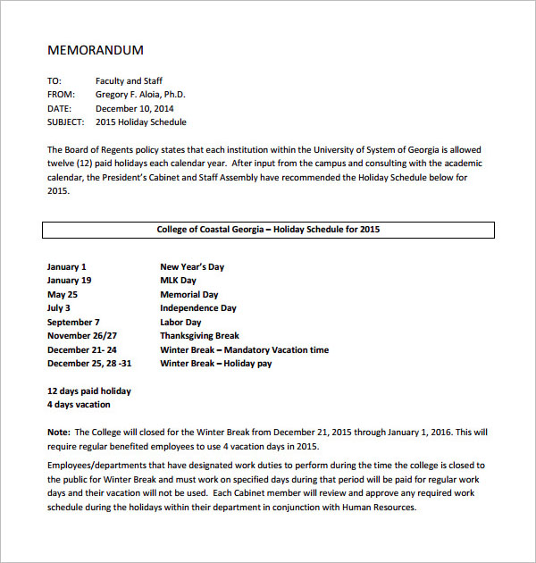 Holiday Memo Template PDF