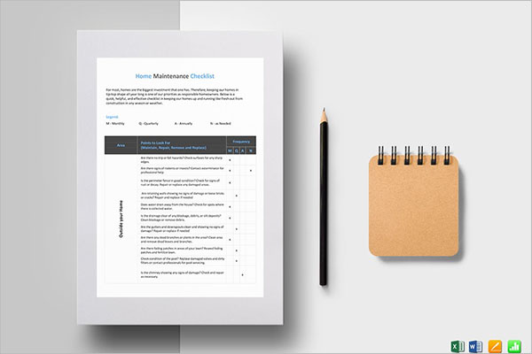 Home Maintenance Checklist Template MS Excel