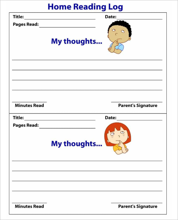 Home Reading Log Template