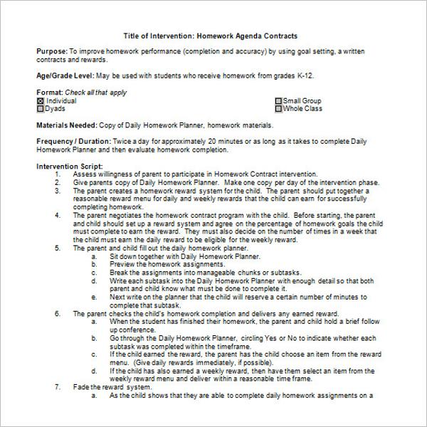 Homework Agenda Template