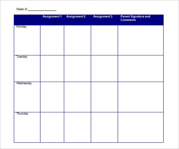 Homework Planner For High School