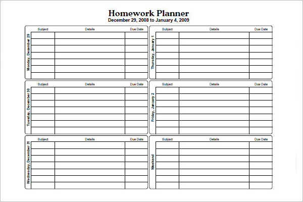 Homework Planner Template Google Docs
